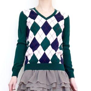 TOMMY HILFIGER Preppy Argyle Pattern Sweater